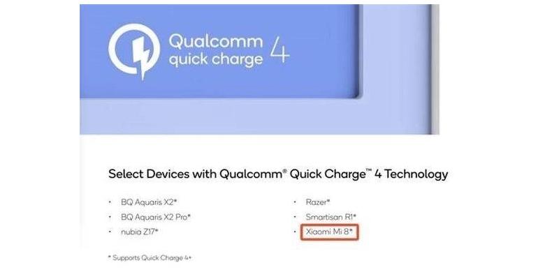 A Xiaomi Mi8 támogatni fogja a QuickCharge 4-et!
