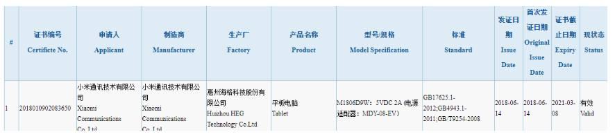 A Xiaomi Mi Pad 4 Az M1806D9W modellszámmal 3C és CMIIT jóváhagyást kapott (1)
