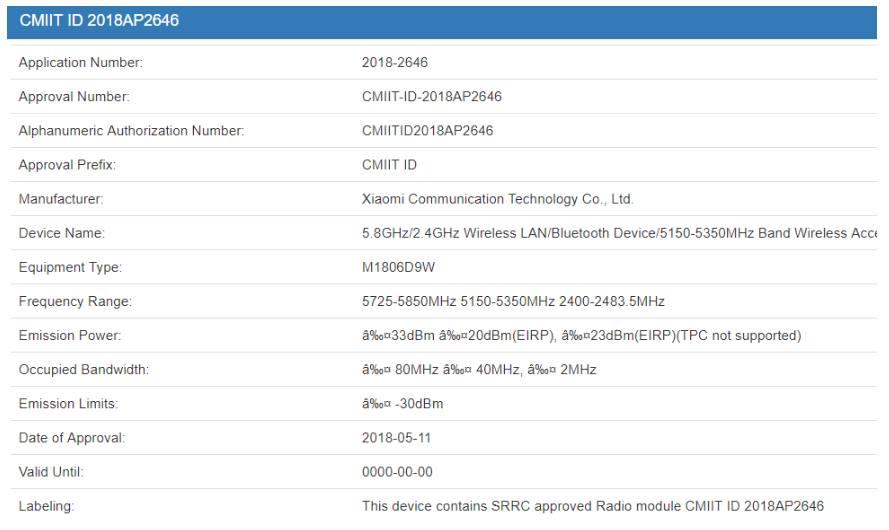 A Xiaomi Mi Pad 4 Az M1806D9W modellszámmal 3C és CMIIT jóváhagyást kapott (2)